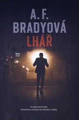 """A. F. Bradyová: Lhář. Pokud si chcete e-knihu vypůjčit, klikněte na název města, ve kterém se nachází vaše knihovna, v sekci """"Vyhledat e-knihu v knihovně""""."""