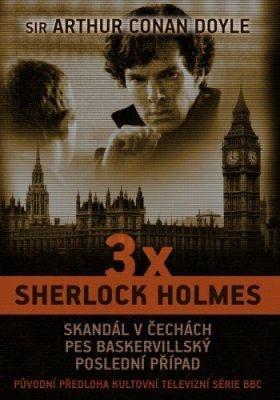 """Arthur Conan Doyle: 3 x Sherlock Holmes. Pokud si chcete e-knihu vypůjčit, klikněte na název města, ve kterém se nachází vaše knihovna, v sekci """"Vyhledat e-knihu v knihovně""""."""