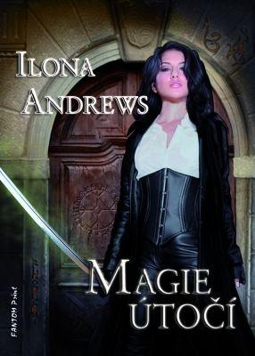 """Ilona Andrews: Magie útočí. Pokud si chcete e-knihu vypůjčit, klikněte na název města, ve kterém se nachází vaše knihovna, v sekci """"Vyhledat e-knihu v knihovně""""."""