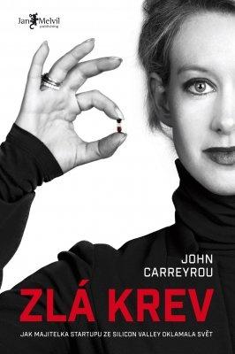 """John Carreyrou: Zlá krev. Pokud si chcete e-knihu vypůjčit, klikněte na název města, ve kterém se nachází vaše knihovna, v sekci """"Vyhledat e-knihu v knihovně""""."""