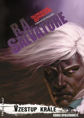 """R. A. Salvatore: Vzestup krále. Pokud si chcete e-knihu vypůjčit, klikněte na název města, ve kterém se nachází vaše knihovna, v sekci """"Vyhledat e-knihu v knihovně""""."""