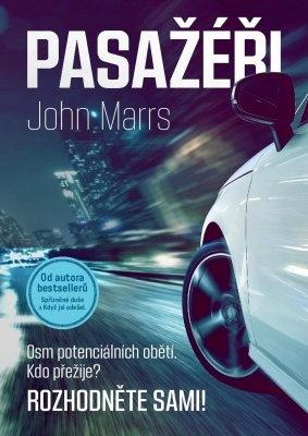 """John Marrs: Pasažéři. Pokud si chcete e-knihu vypůjčit, klikněte na název města, ve kterém se nachází vaše knihovna, v sekci """"Vyhledat e-knihu v knihovně""""."""