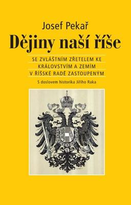 """Josef Pekař: Dějiny naší říše. Pokud si chcete e-knihu vypůjčit, klikněte na název města, ve kterém se nachází vaše knihovna, v sekci """"Vyhledat e-knihu v knihovně""""."""