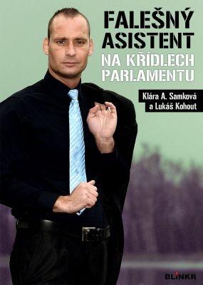"""Klára A. Samková: Falešný asistent na křídlech parlamentu. Pokud si chcete e-knihu vypůjčit, klikněte na název města, ve kterém se nachází vaše knihovna, v sekci """"Vyhledat e-knihu v knihovně""""."""