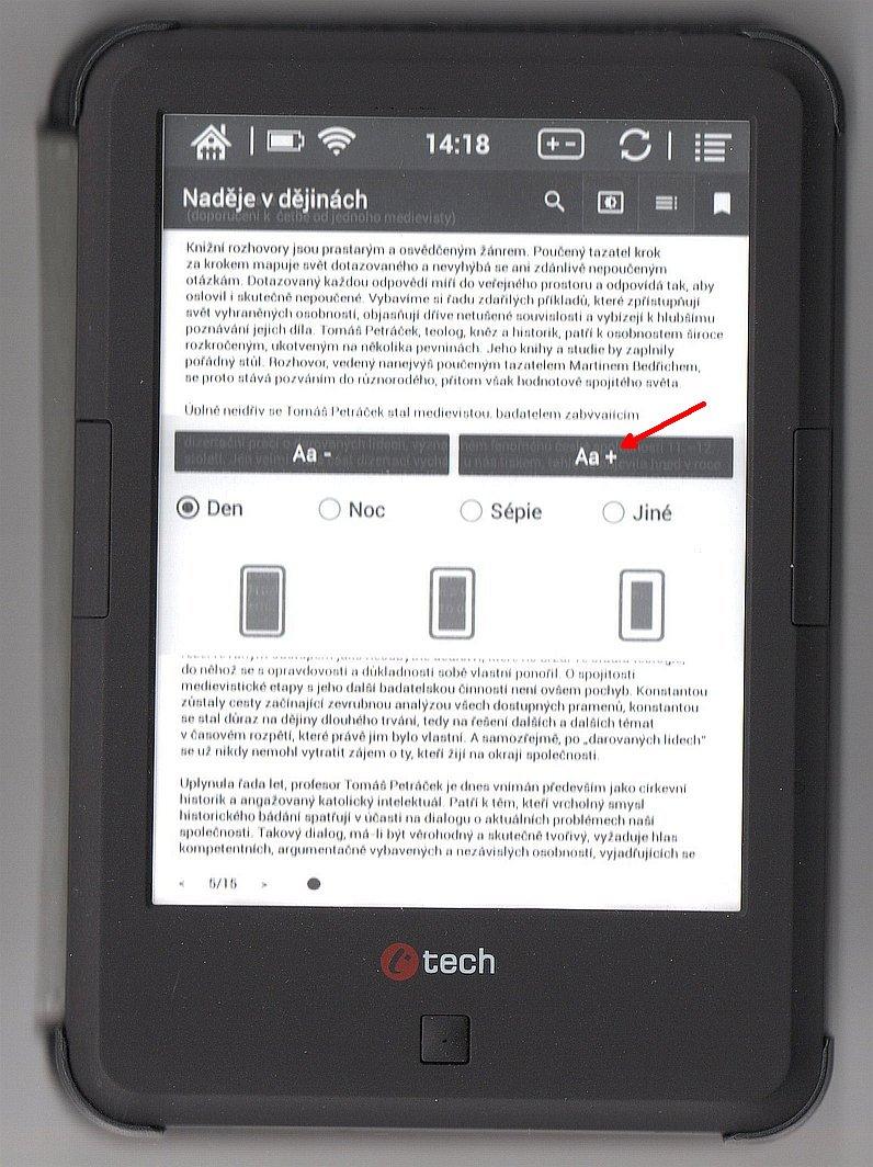 Zvětšení písma v aplikaci eReading na čtečce C-TECH Lexis, 4. část