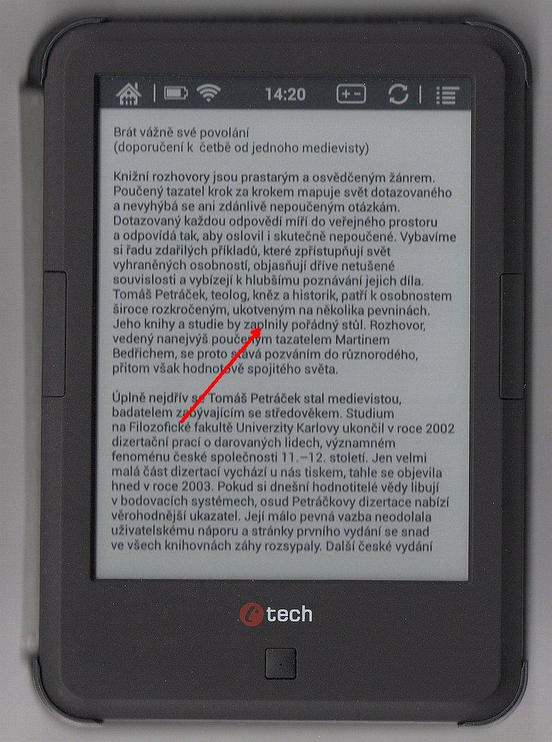 Zvětšení písma v aplikaci eReading na čtečce C-TECH Lexis, 5. část