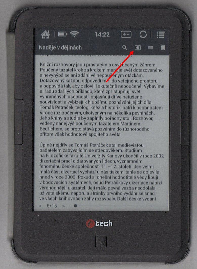 Zvětšení písma v aplikaci eReading na čtečce C-TECH Lexis, 6. část