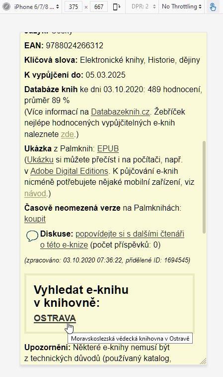 Detail e-knihy po nastavení vlastní knihovny